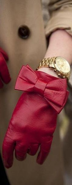 Red Leather Bow Glove | LBV♥✤ | KeepSmiling | BeStayElegant...remember heart disease is number 1killer of women