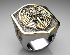 men's wedding ring EAGLE shield | Unique Mens Ring Eagle Shield... ... | Mens Jewelry//Accessories