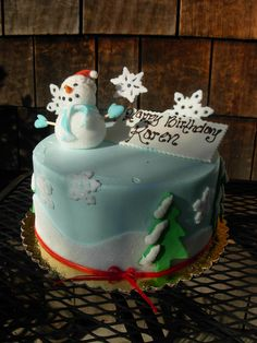 Snow/Winter themed birthday cake Adult Birthday Cakes, Themed Birthday Cakes, Winter Theme, Snow, Desserts, Tailgate Desserts, Deserts, Birthday Cakes For Adults, Postres