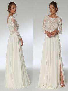 Spitzenbesetztes Brautkleid im Vintage-Stil mit fließendem Rock, langen Ärmeln und hohem Beinausschnitt. Vintage Stil, Formal Dresses, Fashion, Long Sleeve, Bridal Gown, Dresses For Formal, Moda, Formal Gowns, Fashion Styles