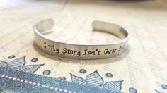 My Story Isn't Over Yet Cuff Bracelet, Suicide Prevention Cuff Bracelet, Suicide Awareness Gift, Semicolon Bracelet, Motivational Cuff by JazzieJsJewelry on Etsy