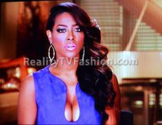 "Kenya Moore's ""green screen/confessional"" interview purple suede dress"
