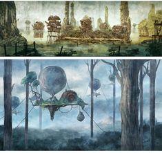Arte do Game Child of Light, da Ubisoft Illustration Photo, Fantasy Illustration, Illustrations, Fantasy Concept Art, Game Concept Art, Fantasy Art, Landscape Concept, Fantasy Landscape, Environment Concept Art