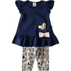 Conjunto de Bebê Menina Borboleta Marinho - Brandili :: 764 Kids   Roupa bebê e infantil