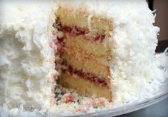 Coconut Cake with Raspberry Filling | Bake Me More