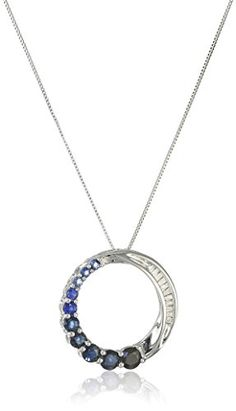 10k White Gold Blue Sapphire and DiamondAccent Journey Circle Pendant 18 ** Learn more by visiting the image link.