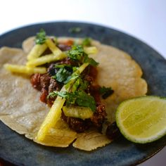bbq lamb tacos with pineapple pickled & chutney