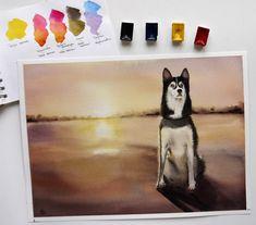 Watercolor Siberian husky