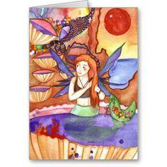 Sunset Mermaid Greeting Cards