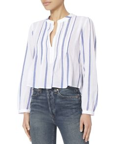 This gauzy cotton top features a crisp striped design and delicate pleating for added movement and style. Long sleeves with gathered button cuffs. Crop Shirt, Stripes Design, Thrifting, Personal Style, Long Sleeve, Sleeves, Cotton, How To Wear, Shirts