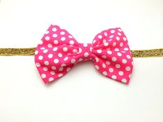 Hey, I found this really awesome Etsy listing at https://www.etsy.com/listing/192176175/babygirls-polka-dot-fabric-bow-with-gold