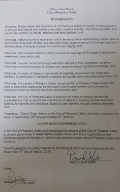Pleasant Valley, MO - - Mayoral proclamation recognizing Diaper Need Awareness Week (Sept. 28 - Oct. 4, 2015) www.diaperneed.org #DiaperNeed