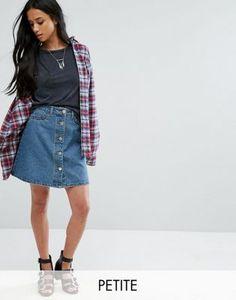 Noisy May Petite - Jupe en jean boutonnée