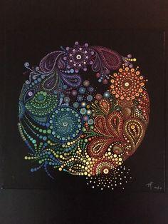 dot painting, puntillismo, point to point, Точечная роспись. Art Painting, Dots Art, Mandala Rock Art, Aboriginal Dot Art, Dot Art Painting, Mandala Pattern, Painting Patterns, Art