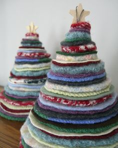 Thrifted Holiday Trees (made out of felted wool sweaters)--I made these a few years back, and they're so fun!
