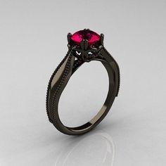 Art Nouveau 14K Black Gold 1.0 Carat Ruby Engagement Ring R207-BGR
