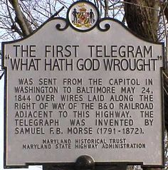 """This Day in History: May 24, 1844 - Samuel F.B. Morse formally opened America's first telegraph line. The first message was sent from Washington, DC, to Baltimore, MD. The message was """"What hath God wrought?"""" Find out what else happened this day in #history http://www.on-this-day.com/onthisday/thedays/alldays/may24.htm"""
