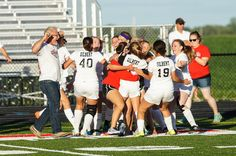 The Gilbert girls' soccer team celebrates after beating North Polk, 3-1, on Monday in a Class 1A regional final. The Tigers advance to this week's state tournament in Des Moines. Photo by Debbie Gray/Special to the Tribune http://amestrib.com/sports/girls-soccer-gilbert-downs-north-polk-reaches-state-tournament