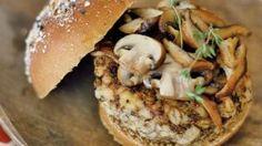 Mushroom Burger, Beet and Bean Burger, Falafel Burger,Sweet Caramelized Onion Burger.