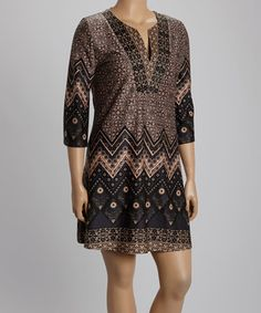 Brown Zigzag Floral Shift Dress - Plus by Reborn Collection #zulily #zulilyfinds
