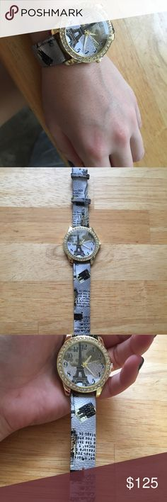 Gold framed Eiffel Tower watch with blue strap Beautiful, classy woman's watch Jewelry