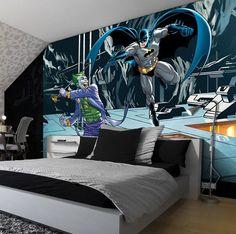 wall mural bedroom boy murals batman joker decor comics rooms boys comic avengers wallpapers bedrooms giant worldwide express shipping cuartos