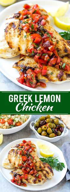 This recipe for Greek lemon chicken is marinated chicken that's been grilled to perfection and topped with a bright and delicious tomato and olive relish. The perfect dish for entertaining! chicken recipes for dinner Healthy Chicken Recipes, Turkey Recipes, Cooking Recipes, Recipes Dinner, Healthy Greek Recipes, Greek Chicken Recipes, Meat Recipes, Paleo Recipes, Recipies