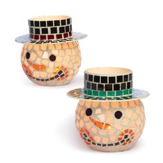 Mosaic Snowman Candle Holders, Light up the night with Christmas cheer with Mosaic Snowman Candle Holders from Old Time Pottery!