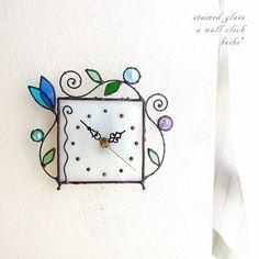 ステンドグラス*掛け&置き時計・アラベスク・クリスタルブルーB|掛け時計・置き時計|ハンドメイド通販・販売のCreema