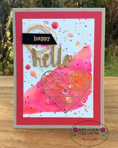 https://flic.kr/p/A3bFZm | Happy Hello Heart Card | I made this card using the Simon Says Stamp October 2015 Card Kit and accented with sequins & enamel dots, water colored background is done w/ the Zig Clean Color Real Brush Markers, gold embossing is done with Ranger's Gold Embossing Powder.