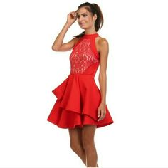 Gorgeous Red Holiday Dress Structured lace top dress. Fit and flare dress! Perfect for the holiday! Ready to ship on Monday 12/21! Let me know which size you want in the comments! Tea and Cup Dresses