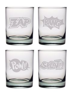 Cartoon Sounds ~ Double Old Fashioned Glasses Set of 4 Zap, Bang, Pow, Splat How awesome are these double old fashioned glasses? Perfect gift sure to bring a smile! Set includes 4 glasses Dimensions: