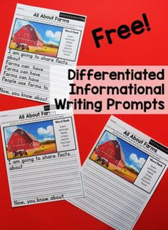 These differentiated writing prompts will help your first and second grade students share thier ideas through informative writing. Each prompt includes non-fiction, real life, pictures and a word bank with relevant vocabulary. There are three levels of prompts inlcluded. Level one contains sentence frames to help your students write an expository paragraph with support. #writing #firstgrade #secondgrade #informativewriting #nonfiction Informative Writing, Informational Writing, Nonfiction, First Grade, Second Grade, Literacy Skills, Fiction Writing, Life Pictures, Paragraph