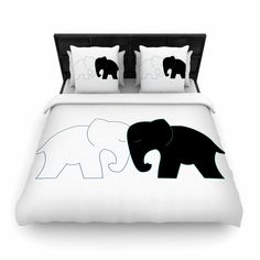 "NL Designs ""Black And White Elephant Love"" Abstract Animals Woven Duvet Cover from KESS InHouse"