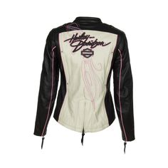 This Harley-Davidson Womens Colorblock Leather Jacket Model 97010-14VW is constructed from light-weight cowhide leather with polyester mesh lining and has the following features:  Body armor pockets s...