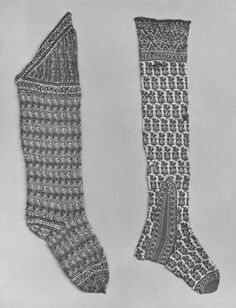 mid 19 c. Pair of men's knee length stockings. Knit. Wool. (on the right - no color photo on-line). North India (my guess: Kashmir). Length: 70 cm, Length: 27 in, Width: 72 in at knee. Museum number: IM.51&A-1926. Knit from fine shawl wool, triangular top made to cover the front of the knee. Decorated with horizontal rows of floral sprays. Toes, heels, top have bands of undulating floral stems on white ground. Stripes above the knee. The toes and 'clocks' are red.