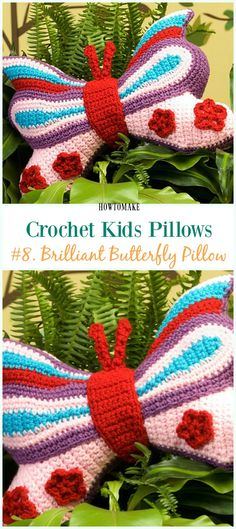 Crochet Brilliant Butterfly Pillow Free Pattern -Fun #Crochet Kids #Pillows Free Patterns