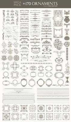 170 Ornaments Mega Pack: Dividers, frames, corners, borders and more - Free Vector Boarder Designs, Nail Logo, Decorative Lines, Mega Pack, Graphic Design Tips, Monogram Design, Vintage Ornaments, Vintage Labels, Art Store