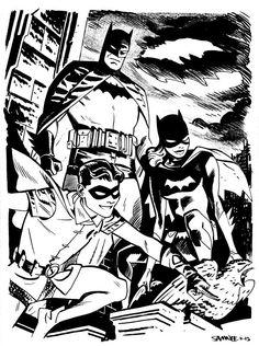 Batman, Batgirl and Robin by Chris Samnee Comic Book Artists, Comic Artist, Comic Books Art, Batgirl And Robin, Batman Robin, Bruce Timm, Batman And Superman, Batman Comics, Batman Universe