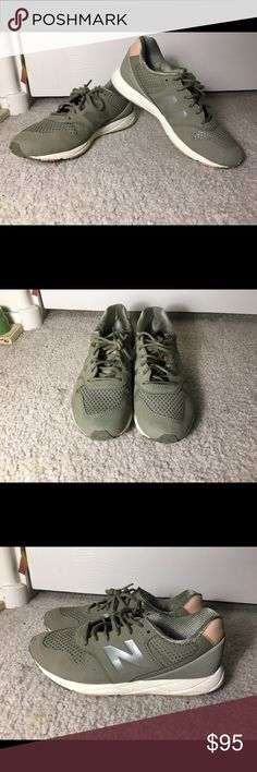 Women's New Balance 96 in Pike New Balance 96 Women's shoes size 8. Color is Pike: basically a olive green and tan/pinkish color. Good condition. Wear is shown in pictures. No major damages. Just a bit stains on the sole area but nothing too big and noticeable. New Balance Shoes Sneakers