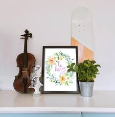 Be Happy Watercolor Flowers Digital Print, Printable Woman Gift, Teen Girl Print, Watercolor Wreath, 8x10, Instant Digital Download