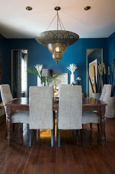 See More Contrast Ornate Lighting With A Cool Blue Background Dark Dining Room Pea