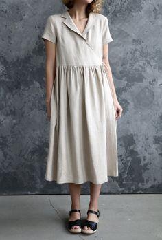 Dress Up, Shirt Dress, Gauze Dress, Linen Dresses, Wrap Dresses, Black Linen, Mode Outfits, Short Sleeve Dresses, Short Sleeves
