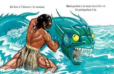 Tāmure wrestles with Kaiwhare, a man-eating taniwha who lived in an underwater cave at Piha. Tāmure lived at Hauraki and was reputed to have a mere pounamu (greenstone weapon) with the power to defeat any taniwha. He came to Piha at the request of the . Hawaiian Mythology, Maori Legends, Maori Patterns, Christmas Party Poster, Polynesian Art, Maori Designs, Nz Art, Maori Art, Kiwiana