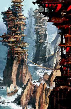 trendy ideas for landscape concept art city environment Fantasy City, Fantasy Places, Fantasy Kunst, Fantasy World, Fantasy Village, Fantasy Forest, Fantasy Castle, Fantasy Books, Dark Fantasy