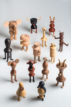 Branching out from lighting, LZF Lab worked together with Isidro Ferrer to create Funny Farm, a group of nineteen wooden animals that are a bit quirky. Wooden Animals, Farm Animals, Wood Turning Projects, Toy Art, Vinyl Toys, Designer Toys, Wood Toys, Wood Design, Design Design