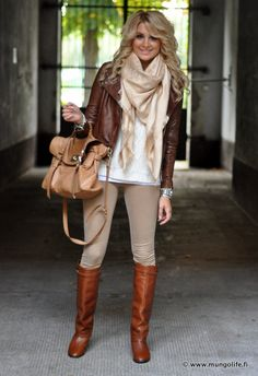 beige, cream, white and brown boots