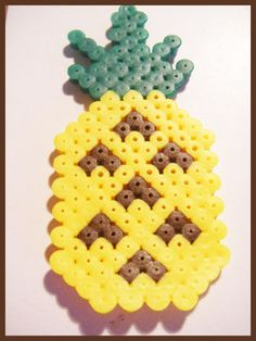 ananas perles hama pixel art kawaii perles en plastique pour vos creations