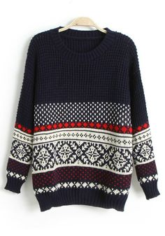 Navy Blue Geometric Round Neck Loose Wool Sweater