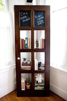 Vintage Door Repurposed Bookshelf by TheDoorShelfFactory on Etsy